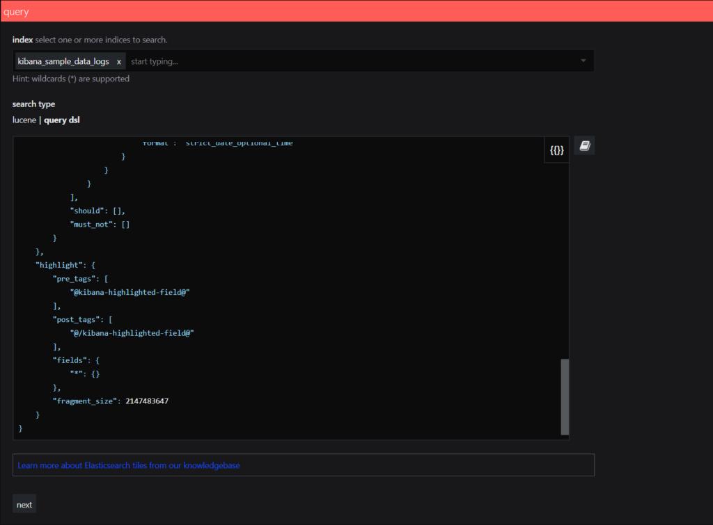 SquaredUp Integrations - elasticsearch example query