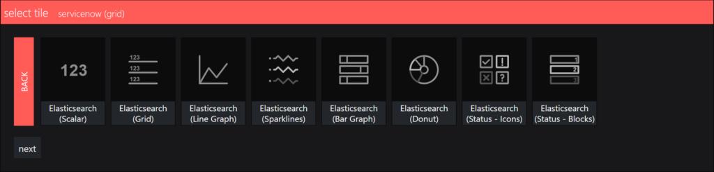 SquaredUp Integrations - elasticsearch select a visual