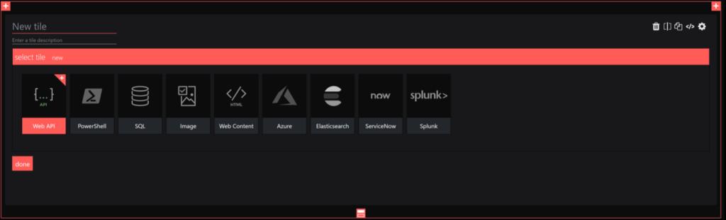 SquaredUp integrations - pick the web api tile