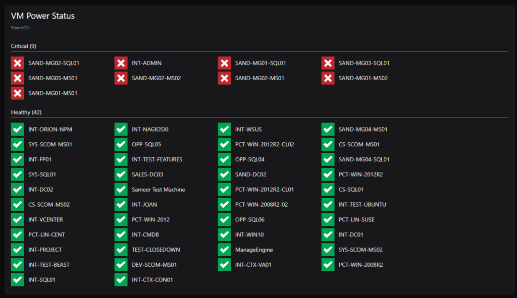VM power status dashboard tile - 7