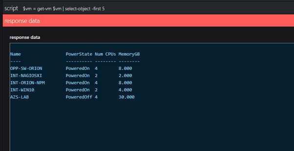 PowerShell response data for scalar and grid tiles